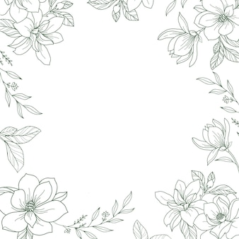 Vector frame with hand drawn botanical floral illustration
