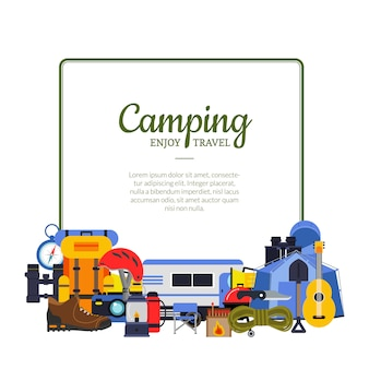 Vector frame with place for text with flat style camping elements below illustration