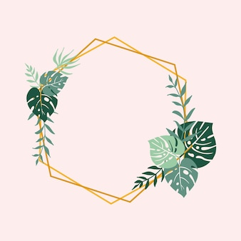 Vector frame with tropical leaves