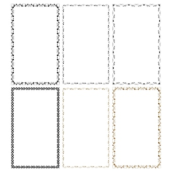 Vector frames in a set black and gold on a white background