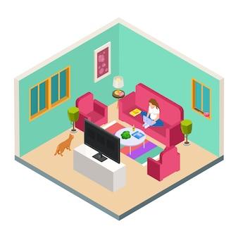 Вектор внештатный, изометрическая концепция удаленной работы. женщина работает из дома в гостиной