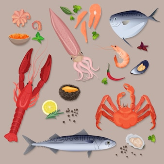 Vector fresh seafood with spices icons collection set.