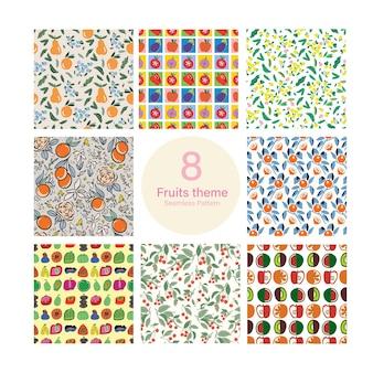 ベクターフルーツと夏のテーマイラスト8種類のシームレスな繰り返しパターンコレクションセット
