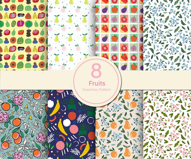 원활한 반복 패턴 컬렉션 집합의 벡터 과일과 여름 테마 그림 8 종류