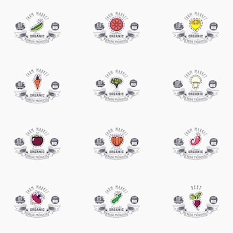 Vector fruits banners set eco foods