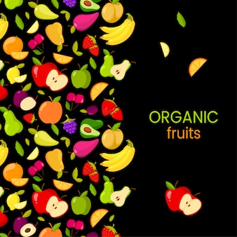 Vector fruits frame isolated on black background. organic fruits