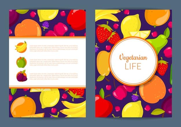 Vector fruits vegan flyer template
