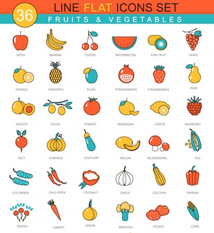 Vector fruits and vegetables flat line icons set