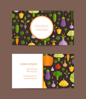 Vector fruits and vegetables organic farm, healthy food business card template. vegan poster illustration