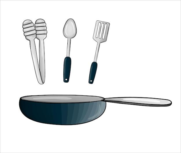 벡터 프라이팬, 집게, 주걱, 숟가락. 주방 도구 아이콘 흰색 배경에 고립입니다. 튀김을 위한 만화 스타일의 요리 장비. 그릇 벡터 일러스트 레이 션
