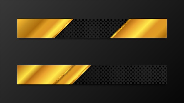 Vector full banners set. black and gold metal background.