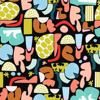 벡터 재미와 다채로운 추상 페인트 브러시 모양 그림 원활한 반복 패턴 가정 장식