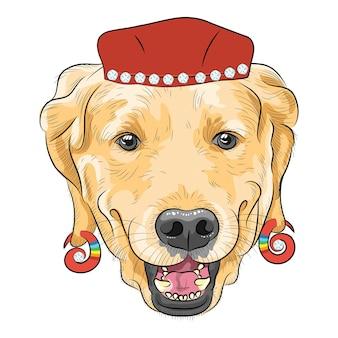 Вектор забавный мультяшный битник собака лабрадор ретривер