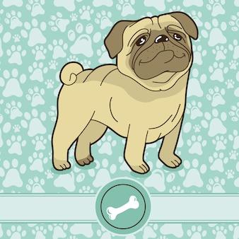 Vector funny cartoon pug