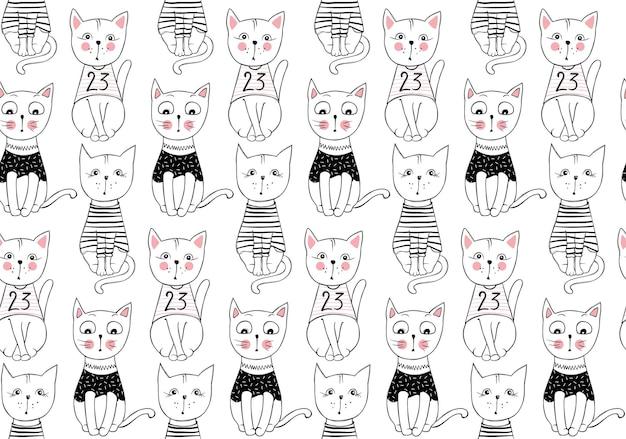 ベクトル面白い猫のシームレスなパターン。かわいい子猫の手描きイラスト。スタイリッシュな漫画の動物の背景。落書きコミックキャラクタープリント。