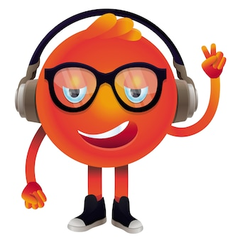 Vector funny monster with headphones and glasses - hipster character