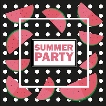 Vector funny summer unusual background with watermelon - summer party isolated on black background