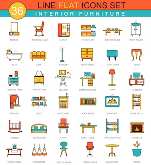 Vector furniture flat line icons set
