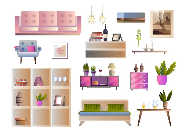 Vector furniture set with sofa, armchair, bed, table, square shelves, painting, home plants, lamps.