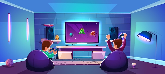 Vector game room with people playing digital entertainment, modern esports concept