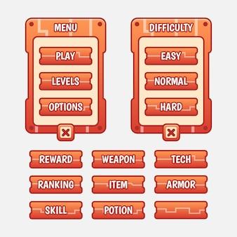 Kit gui modello gioco vettoriale