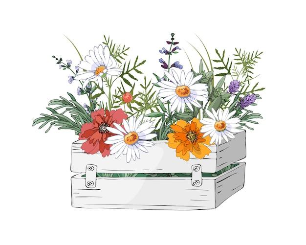 Векторные садовые цветы в садовой деревянной белой коробке