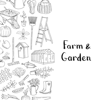 Vector gardening doodle background with place for text illustration
