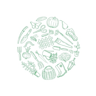 Vector gardening doodle composition rounded