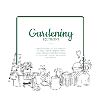 Vector gardening doodle icons below frame with place for text illustration