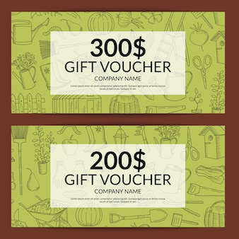 Vector gardening and horticulture gift voucher template or gift card