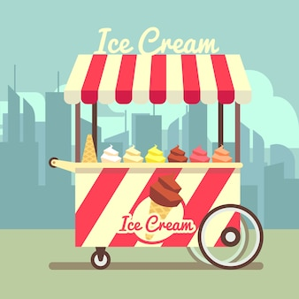 Vector gelato ice cream cart. food dessert ice cream and summer cart with ice cream in waffle cone i