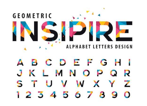 Vector of geometric alphabet letters, colorful triangle letter