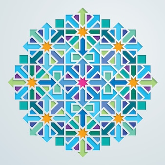 Vector geometric arabic pattern colorful mosaic ornate