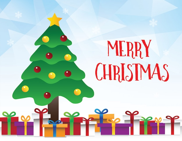 Vector of geometric blue background with christmas tree
