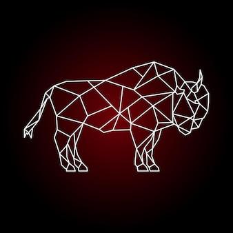 ベクトル幾何学的な水牛のプリント