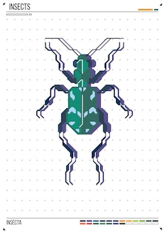 Vector geometric bug or beetle. insect on poster background