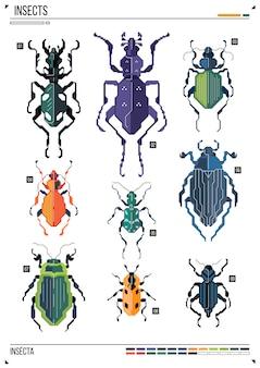 ベクトルの幾何学的なバグまたはカブトムシ。ポスターの背景の昆虫