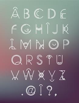 벡터 기하학적 hipster 현대 크리에이 티브 글꼴, abc, 흐림 배경에 편지