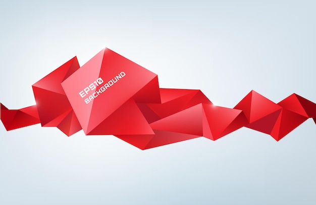 Vector geometric shape, abstract red futuristic background, banner