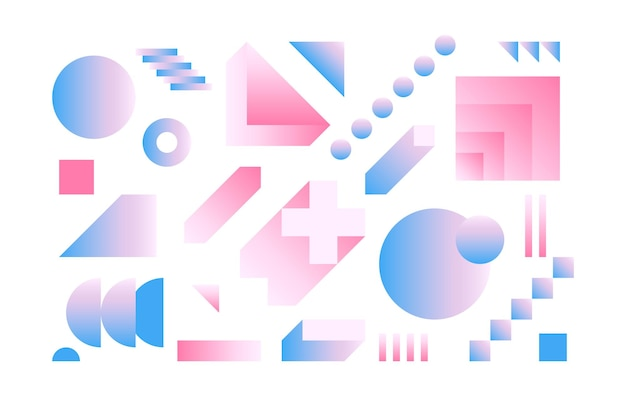 Vector geometric smooth blue pink gradient set simple minimalistic colorful shapes based on grid