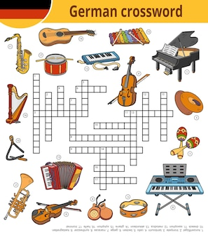 Vector german crossword, education game for children about musical instruments