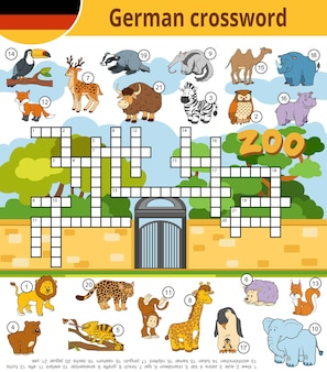 Vector german crossword, education game for children about zoo animals