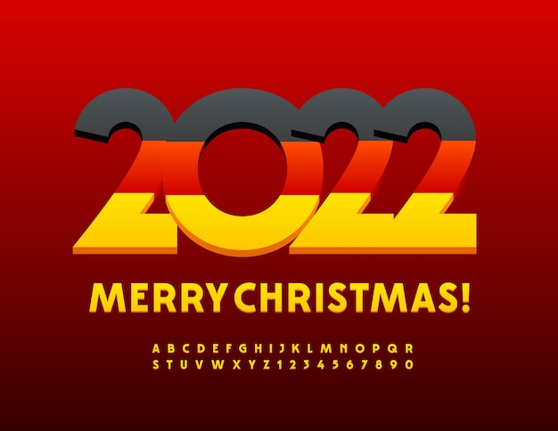 Vector german greeting card merry christmas 2022 bright yellow modern alphabet letters and numbers