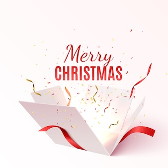 Vector gift box with red ribbon and bow. merry christmas and happy new year banner