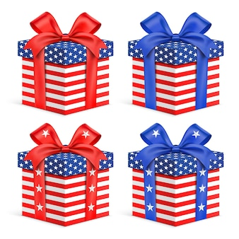 Vector gift boxes with usa flag wrapping