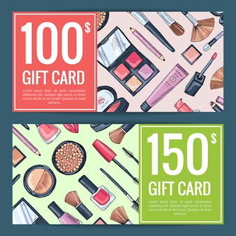 Vector gift card vouchers for beauty products