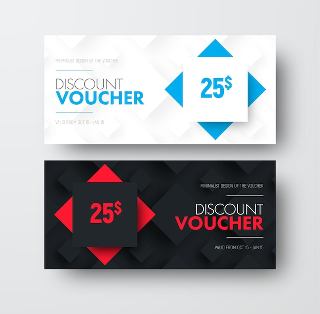 Of vector gift voucher with rhombuses on background and text.