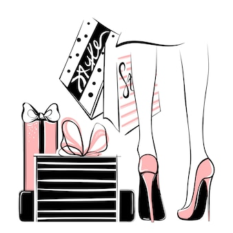 Vector girl in high heels surrounded by shopping bags, gift boxes