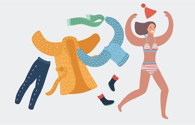 벡터 소녀는 수영복을 입고 코트와 스카프, 컵을 입고 수영과 일광욕을 준비합니다. 달리는 여자. 흰색 바탕에 재미 있는 여성 행복 캐릭터. 휴일, 휴가 개념, 여름.