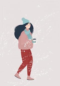 Vector girl walking in winter under snowfall